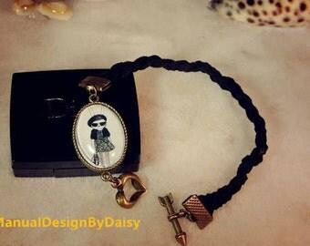 Black girl Bunny Faux suede Bracelet, weaving Bronze Metal Bracelets,Rabbit Bracelets,Matching Couples Bracelets