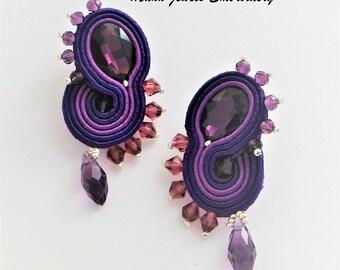 earrings soutache purple