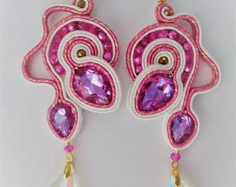 soutache earrings bright pink