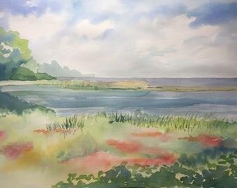 Seaside marsh watercolor
