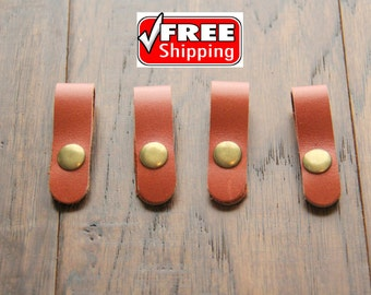 Free shipping ! Four (4) Orange leather cord organizers, leather cord keepers, ear bud cord holders, cord ties, made with genuine leather !