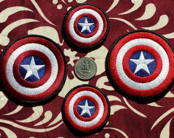 Captain America Shield iron-on patch, pin or hairclip - Embroidered