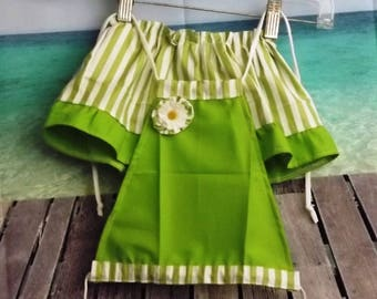 Toddler Girls Lime Green Skirt W/White Strips And Lime Green Ruffle Matching Halter Top And Bloomers Size 2-3T