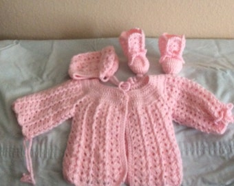 Baby girl sweater set crocheted
