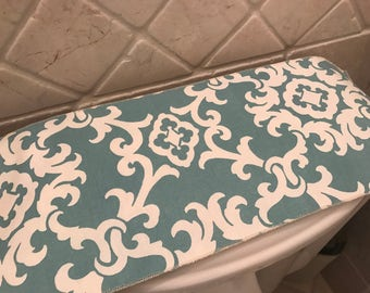 Toilet Tank Topper Runner Cover Blue Floral Paisley