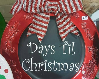 Chalkboard Countdown to Christmas Plate