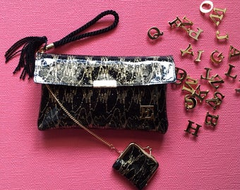 Black×gold lace cluch bag