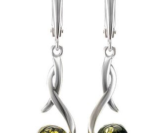 The green amber, 925 sterling silver, natural stone , earrings,