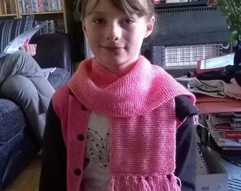 Pale pink scarf hand knitted