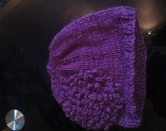 3 -6 months hat - Purple with red flecks and matching flower - girl