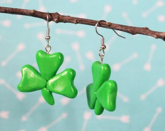 Green Shamrock Earrings, Polymer Clay Earrings, Kawaii jewelry