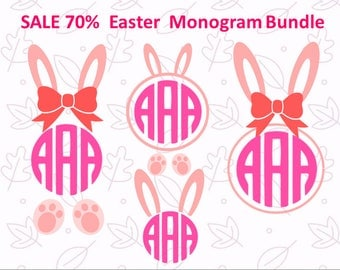 Easter bunny SVG Easter SVG Bunny Monogram SVG Bundle Bunny svg Bunny Ears Svg Rabbit Clipart Easter Silhouette File Cricut Cut File Dxf