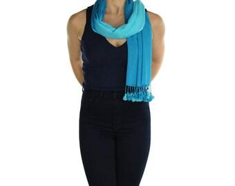 Blue Turquoise  Pom Pom Scarf Shawl Wrap Pashmina - Handmade - Ladies Scarves