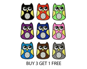 Buy 3 Get 1 Free Owl Iron on Patch by 24PlanetsStudio