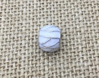 Enameled gray silver tone abstract strand charm bead for bracelet making fits pandora bracelet