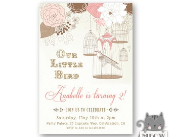 Little Bird Birthday Invitations for Girl's / Vintage Birdcage / 1st 2nd 3rd 4th 5th Birthday Paryt Invitation / Kid's Birthday / 82a