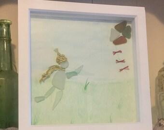 Lets fly a kite sea glass art