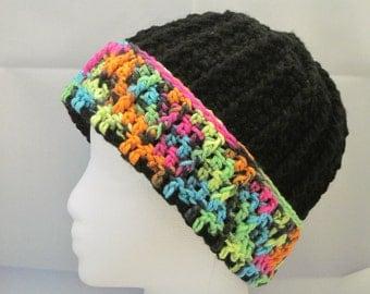 black winter hat with multi-color neon border