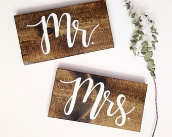 Mr and Mrs Chair Signs | Wood wedding chair signs, mr and mrs sign, wedding photo prop, mr and mrs table signs, rustic wood signs