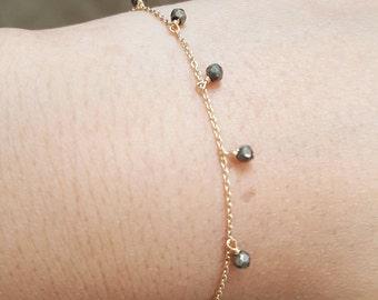 tiny pyrite bracelet/pyrite charm bracelet/gold filled bracelet/3mm pyrite bracelet/birthdaygift/Christmas gift/bridal gift /bridesmaid gift