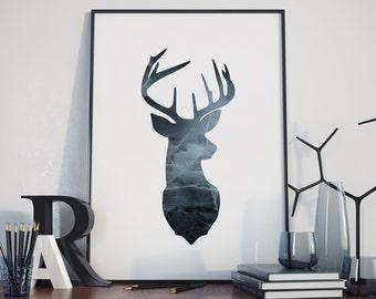 Reindeer Printable, Reindeer Wall Art, Reindeer Decor, Reindeer Print, Reinder with Texture, Nature Printable, Animal Printable, Forest