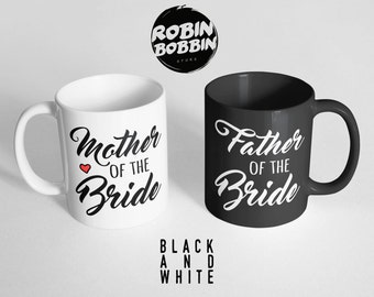 Mother and Father Of The Bride Gift, Mother and Father Of The Bride Mug, Gifts From Bride, Gifts For Mom, Gifts For Dad, Black and White Mug