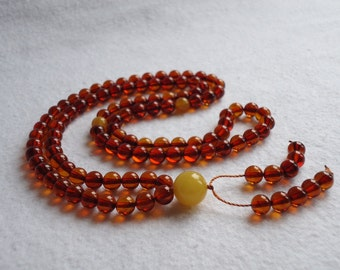 """Amber rosary, Buddhist, 108 stones, color is """"tea"""""""