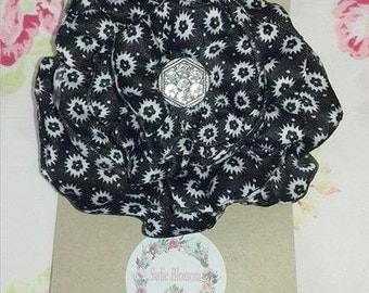 Flower hair clip, Black and White Satin Crystal button center