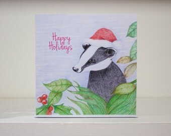 Christmas Badger Card