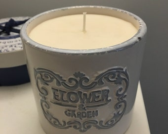 Cream Rose Garden scented hand poured soy wax candle