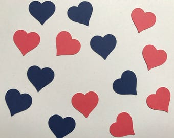 Navy and Coral Heart Confetti - Navy and Coral Wedding Decorations - Blue and Pink Wedding Decor - Navy and Coral Bridal Shower Decor