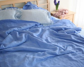 Blue Linen Duvet cover, Linen bedding, Ruffle bed skirt, Blue linen pillowcase, Ruffle linen pillowcase