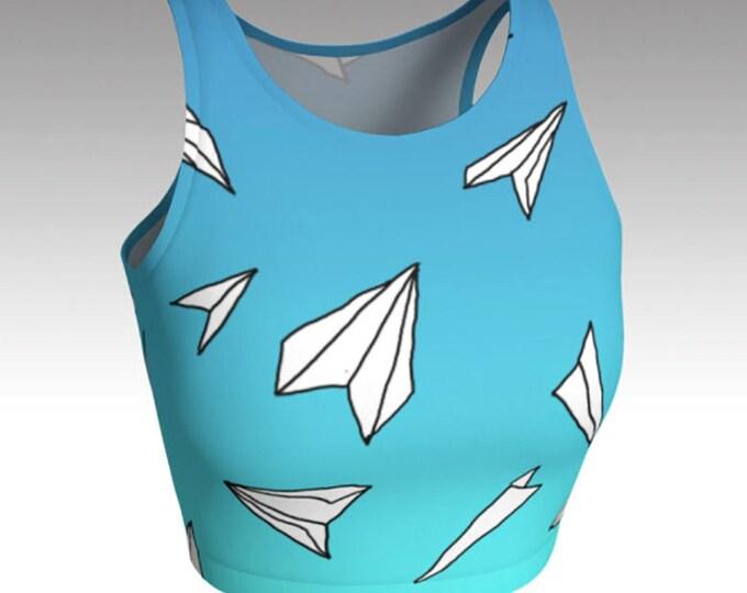 Paper Planes Light Blue Ombre Crop Top, Crop Tops, Tops, Women's Tops, Yoga Tops, Swim Tops, Athletic Tops, Running Top, Dance Top