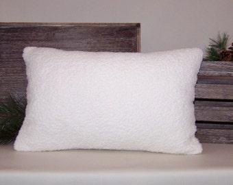 Off-White Minky Berber Fleece Lumbar Pillow Cover 13x20