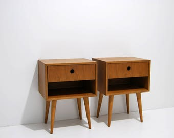 Pair of Nightstand, night stand, bedside table, bed side table, side table with one drawer, scandinavian design, mid century modern, retro