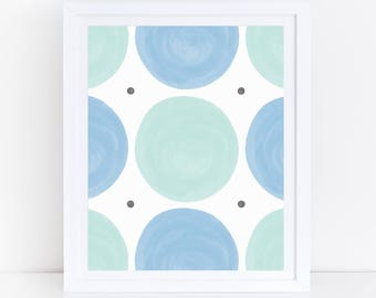 Blue Green Nursery Art, Circles Print, Circle Art, Polka Dot Print, Blue And Green Nursery Print, Pastel Abstract Art, Kids Abstract Art