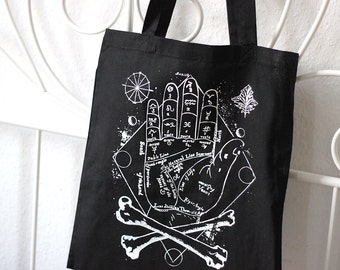 handprinted cotton tote occult palmistry