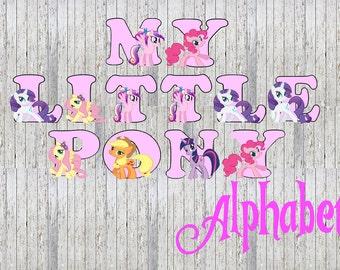 My Little Pony 26 Alphabet Images - Party Event Babyshower Alphabet Letter Pack! Twilight Sparkle, Rarity, Applejack