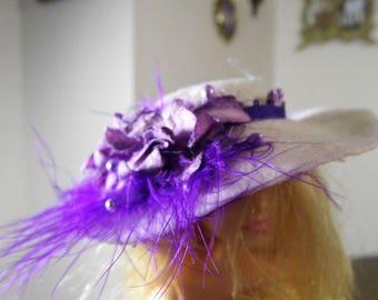 Passionate white and purple Barbie hat handmade accessory