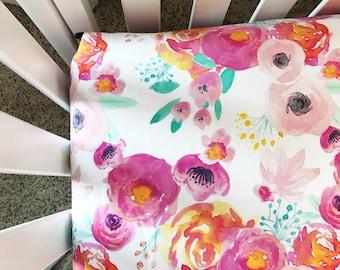 Floral Crib Sheet - Fitted Crib Sheet  - Crib sheet girl - Crib sheet floral - Watercolor Floral Crib Sheet - Crib bedding - Nursery bedding