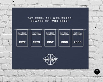"Kansas Jayhawks Basketball Print - 8"" x 10"" - Fan Art - University of Kansas 