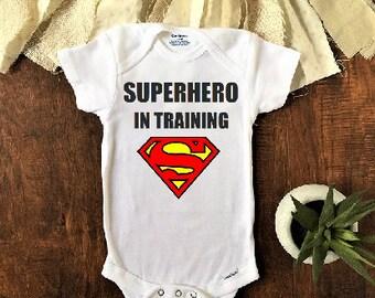 Superhero in training baby onesie®, superman baby, superman baby clothes, superman onesie, superman birthday shirt, superhero baby clothes