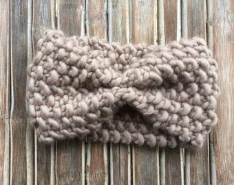 Headband over-sized taupe - earflap bulky yarn - Peruvian wool - taupe chunky wool