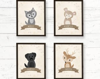 Watercolor Harry Potter Marauders Animals Nursery Wall Art Printable 8x10, Instant Download Baby Room Decor, Decorations