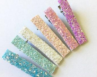 Spring Hair Clips | Glitter Hair Clips |  Girls Accessories | Toddler Hair Clips | Baby Hair Clips | Hair Clip Set | Fringe Hair Clips