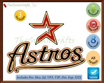 Houston ASTROS EMBROIDERY DESIGNS Pes, Hus, Jef, Dst, Exp, Vp3, Xxx, Vip (Design 1)
