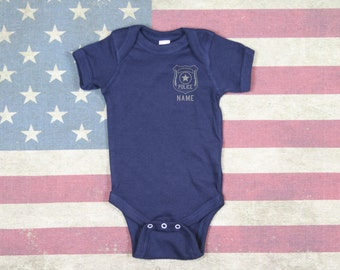 Baby Police Onesie Police Badge with Name