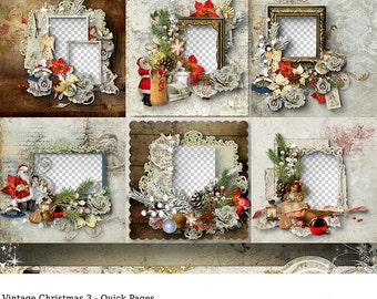Premade Digital Scrapbooking Layout, 12x12, Christmas Quick Pages, Vintage, Old Fashioned, Scrapbook Layout, Plopper, Premade Scrapbook Page