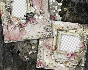 Digital Scrapbook Quick Page | 12x12 | Valentines Day | Shabby  Style | Vintage | Premade Scrapbook Layout | Vintage Valentine | Premade