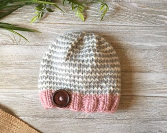 Toddler Knit Hat, Baby Knit Hat, Knit Hat with Button, Wool Knit Hat, Stripe Knit Hat